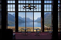 Lobby of Prince of Wales hotel with view over Waterton Lake. Waterton Lakes National Park, Alberta, Canada