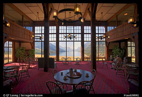 Picture Photo Table With View In Lobby Of Prince Wales Hotel Waterton Lakes National Park Alberta Canada