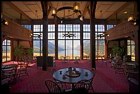Table with view in lobby of Prince of Wales hotel. Waterton Lakes National Park, Alberta, Canada