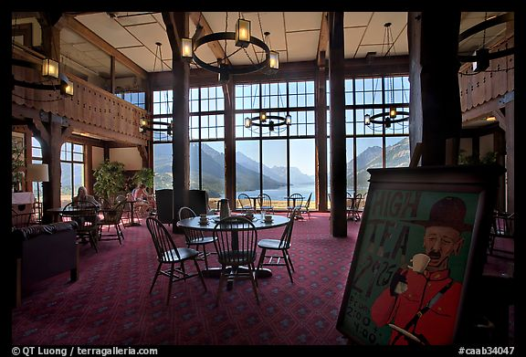 High Tea sign and lobby of historic Prince of Wales hotel. Waterton Lakes National Park, Alberta, Canada