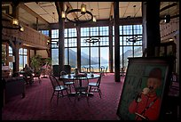 High Tea sign and lobby of historic Prince of Wales hotel. Waterton Lakes National Park, Alberta, Canada ( color)