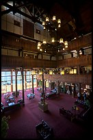 Lobby and chandelier of historic Prince of Wales hotel. Waterton Lakes National Park, Alberta, Canada