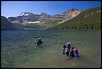 Scuba diving in a mountain Lake,. Waterton Lakes National Park, Alberta, Canada