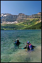Scuba diving in Cameron Lake, a cold mountain lake. Waterton Lakes National Park, Alberta, Canada