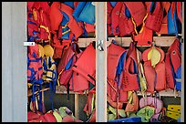 Lifejackets in Cameron Lake boathouse. Waterton Lakes National Park, Alberta, Canada