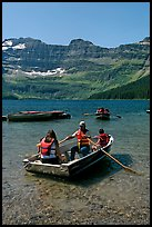 Families boating in Cameron Lake. Waterton Lakes National Park, Alberta, Canada