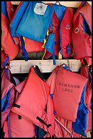 Lifevests in Cameron Lake boathouse. Waterton Lakes National Park, Alberta, Canada