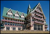 Prince of Wales hotel facade. Waterton Lakes National Park, Alberta, Canada (color)