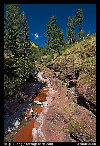 Family in Red Rock Canyon. Waterton Lakes National Park, Alberta, Canada (color)