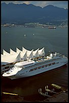 Canada Place, cruise ship, and Burrard Inlet. Vancouver, British Columbia, Canada (color)