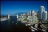 Burrard Bridge, harbor, and high-rise residential buildings. Vancouver, British Columbia, Canada