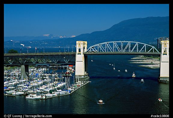 Burrard Bridge and mountains. Vancouver, British Columbia, Canada