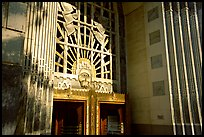 Ornate art deco Marine Building entrance. Vancouver, British Columbia, Canada