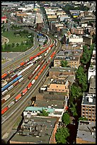 Downtown and railroad from above. Vancouver, British Columbia, Canada