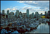 Skyline and small boat harbor. Vancouver, British Columbia, Canada (color)