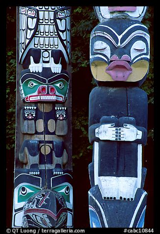 Two Totem sections, Stanley Park. Vancouver, British Columbia, Canada (color)