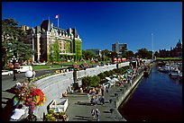 Inner harbor quay and Empress hotel. Victoria, British Columbia, Canada (color)