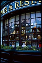 Pub and restaurant windows. Victoria, British Columbia, Canada (color)