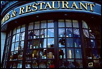Pub and restaurant windows. Victoria, British Columbia, Canada