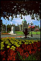 Parliament framed by leaves and flowers. Victoria, British Columbia, Canada (color)