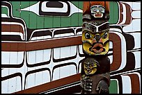 Totem and motif painted on the wall of carving studio. Victoria, British Columbia, Canada