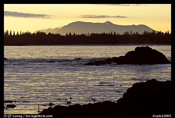 Rocks, tree line, and mountains from Half-moon bay, late afternoon. Pacific Rim National Park, Vancouver Island, British Columbia, Canada (color)