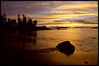 Rock and bay at sunset, Half-moon bay. Pacific Rim National Park, Vancouver Island, British Columbia, Canada (color)