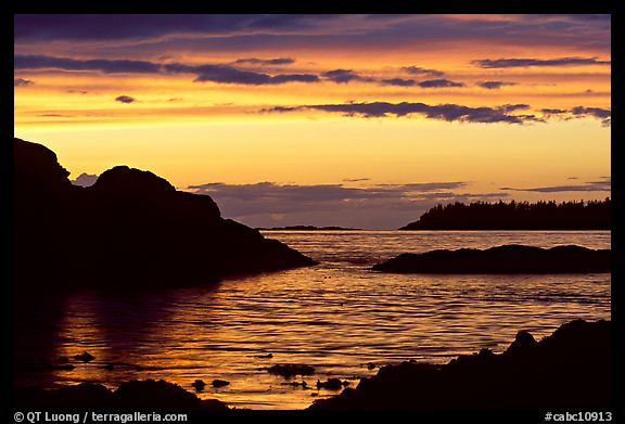 Sunset, Half-moon bay. Pacific Rim National Park, Vancouver Island, British Columbia, Canada (color)