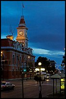 City Hall and Douglas Street at dawn. Victoria, British Columbia, Canada