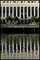 Buildings with columns and reflections. Victoria, British Columbia, Canada