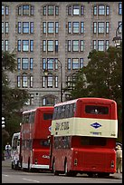 Double-deck tour busses. Victoria, British Columbia, Canada (color)