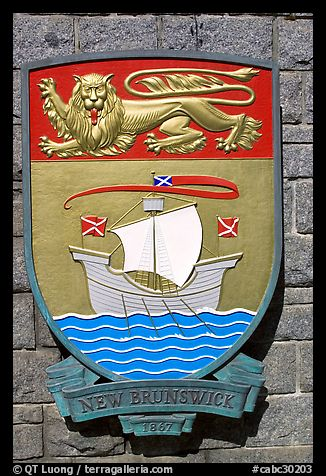 Shield of New Brunswick Province. Victoria, British Columbia, Canada (color)
