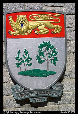 Shield of Prince Edward Island Province. Victoria, British Columbia, Canada (color)