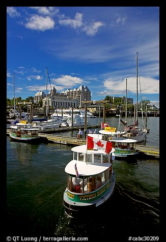 Harbor Ferry with Canadian flag. Victoria, British Columbia, Canada (color)