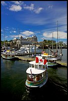 Harbor Ferry with Canadian flag. Victoria, British Columbia, Canada