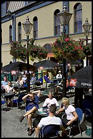 Outdoor cafe terrace, Bastion Square. Victoria, British Columbia, Canada (color)