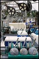 Fishing equipment on boat, Uclulet. Vancouver Island, British Columbia, Canada