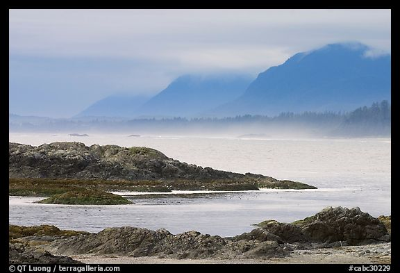 Ocean and coastal range. Pacific Rim National Park, Vancouver Island, British Columbia, Canada (color)