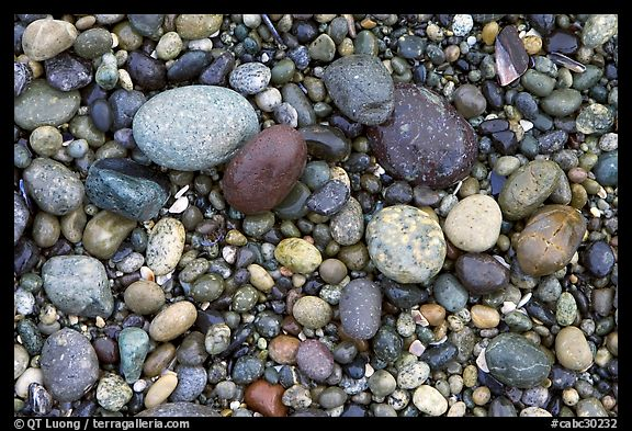 Pebbles, South Beach. Pacific Rim National Park, Vancouver Island, British Columbia, Canada (color)