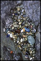 Pebbles and rock, South Beach. Pacific Rim National Park, Vancouver Island, British Columbia, Canada (color)