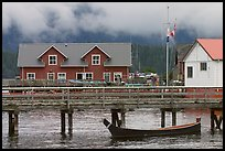 Pier and waterfront buildings, Tofino. Vancouver Island, British Columbia, Canada