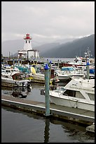 Harbour and lighthouse, Port Alberni. Vancouver Island, British Columbia, Canada (color)