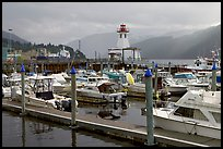Yachts, harbour and lighthouse, Port Alberni. Vancouver Island, British Columbia, Canada