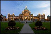 Parliament illuminated at night. Victoria, British Columbia, Canada (color)