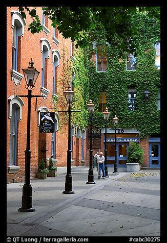Alley with street lamps, Bastion Square. Victoria, British Columbia, Canada (color)