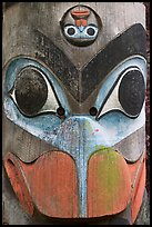 Totem pole detail, Thunderbird Park. Victoria, British Columbia, Canada (color)