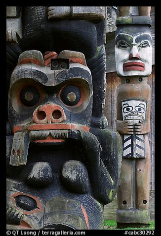 Totem poles in Thunderbird Park. Victoria, British Columbia, Canada (color)