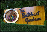 Entrance sign of Butchard Gardens. Butchart Gardens, Victoria, British Columbia, Canada ( color)