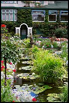 Pond in Italian Garden and Dining Room. Butchart Gardens, Victoria, British Columbia, Canada ( color)