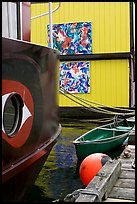 Detail of houseboat walls. Victoria, British Columbia, Canada (color)